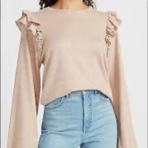 Express ruffle sleeve tan metallic sweatshirt